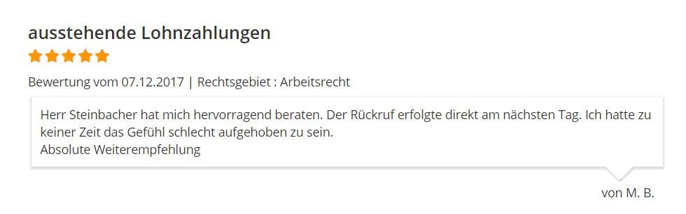 RA Steinbacher Arbeitsrecht Bewertung