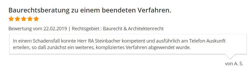 Bewertung RA Steinbacher Baurecht